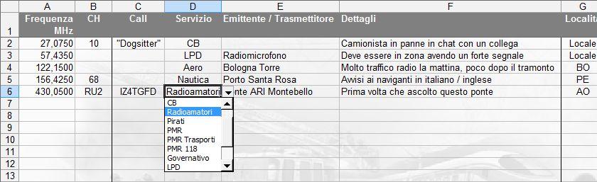 LOG radioascolto: inserimento della frequenza con completamento automatico e del servizio tramite menu a discesa