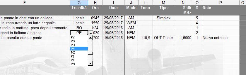 LOG radioascolto: inserimento della località di trasmissione tramite menu a discesa