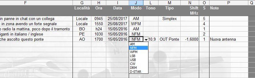 LOG radioascolto: inserimento del modo di trasmissione tramite menu a discesa
